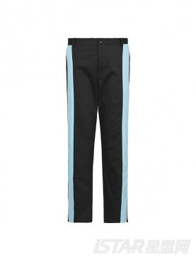 酷黑个性蓝色拼接设计直筒修身时尚休闲裤