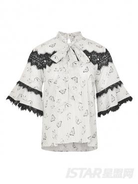 优雅黑色蕾丝装饰公主袖舒适雪纺休闲时尚上衣