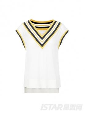 深V螺纹领撞色性感镂空时尚休闲T恤