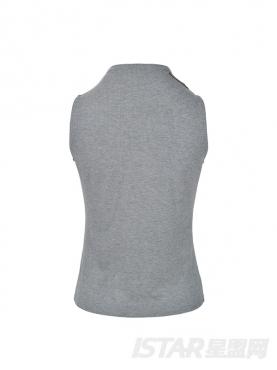 优雅灰时尚无袖中领紧身舒适休闲针织衫