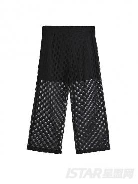 时尚黑个性镂空阔腿九分休闲裤