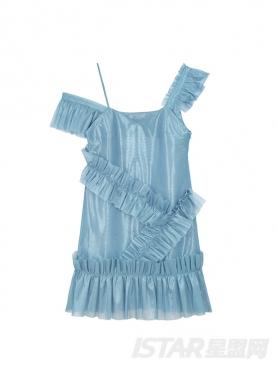 个性不规则露肩吊带休闲舒适连衣裙罩衫