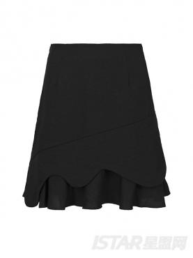 时尚黑个性不规则剪裁休闲舒适半裙