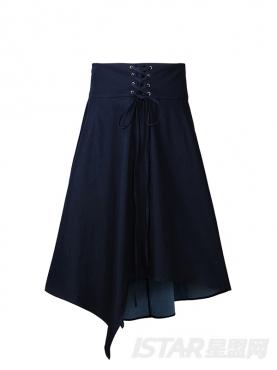 牛仔色绑带伞式休闲时尚半身裙