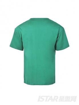 拉链口袋装饰绿色T恤
