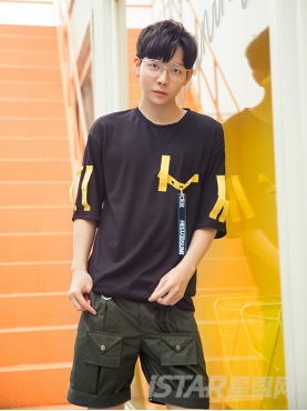 HS织带装饰经典黑色纯棉时尚休闲撞色T恤