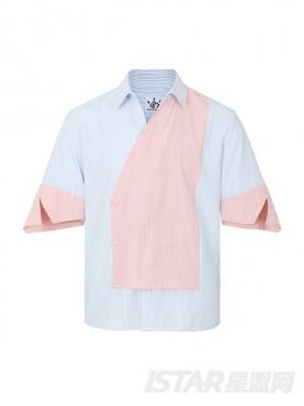 条纹拼色不规则设计男衬衣