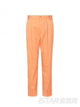 优雅橘色时尚小脚包扣装饰时尚休闲长裤