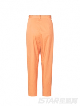 橘色裤脚包扣休闲裤