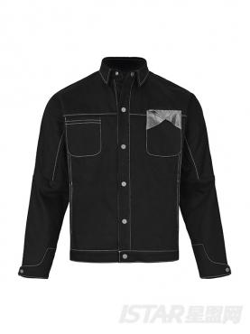 经典黑色个性色块拼接廓形休闲时尚牛仔外套