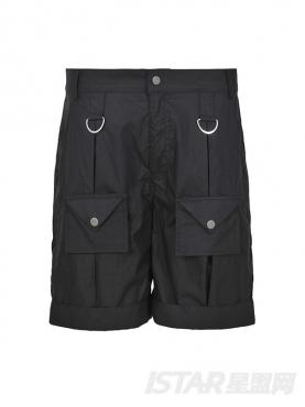 个性多口袋金属气环时尚撞色休闲舒适短裤
