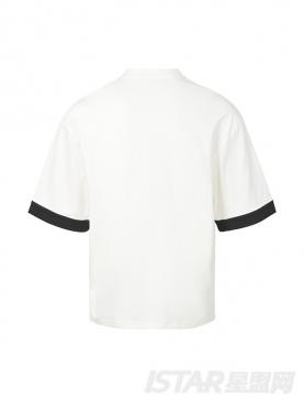 时尚白色个性贴布假领带时尚休闲纯棉T恤