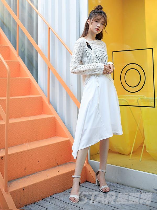 仙气不规则白色半裙