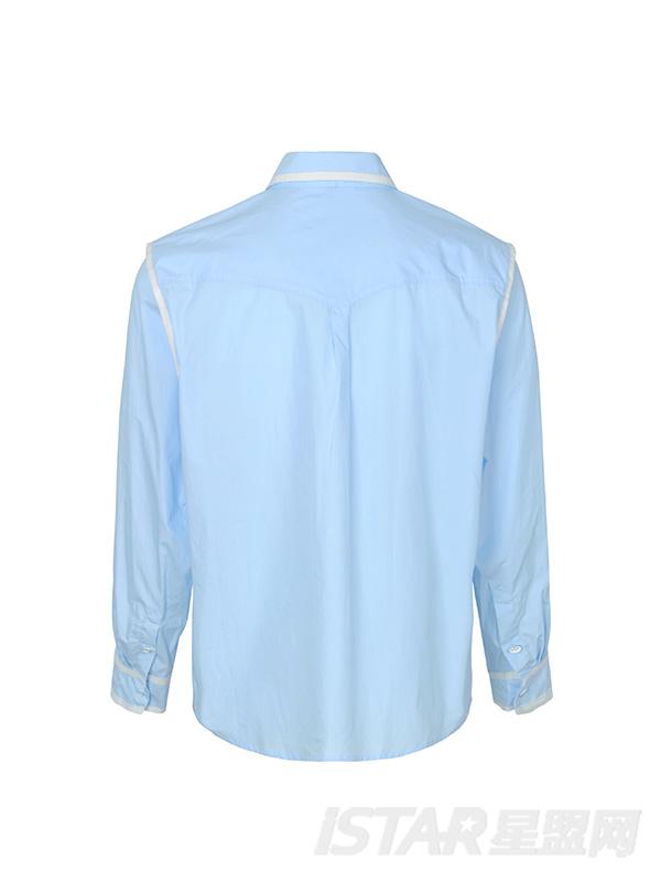 白色织带锁边领带蓝色衬衣