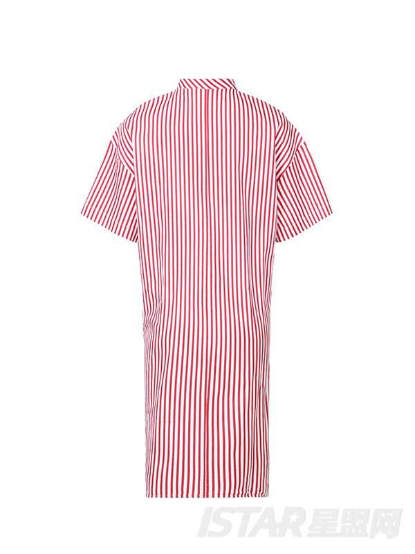 不对称格子弧下摆长款短袖衬衫