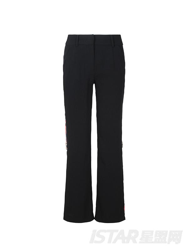 侧条纹开衩休闲裤