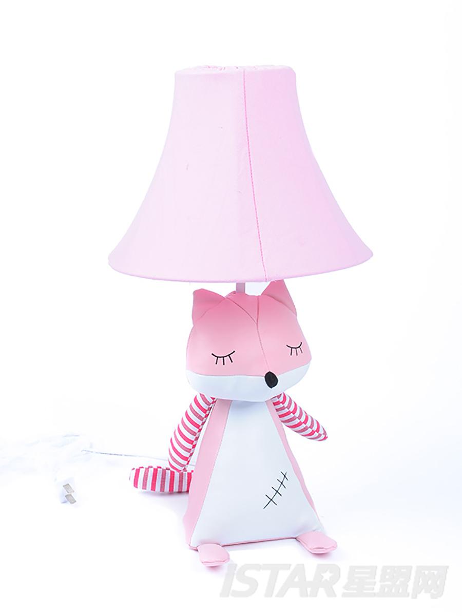 瞌睡狐狸三角台灯粉色