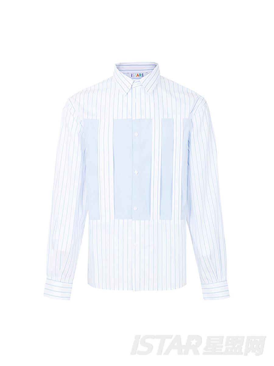 拼色条纹衬衫