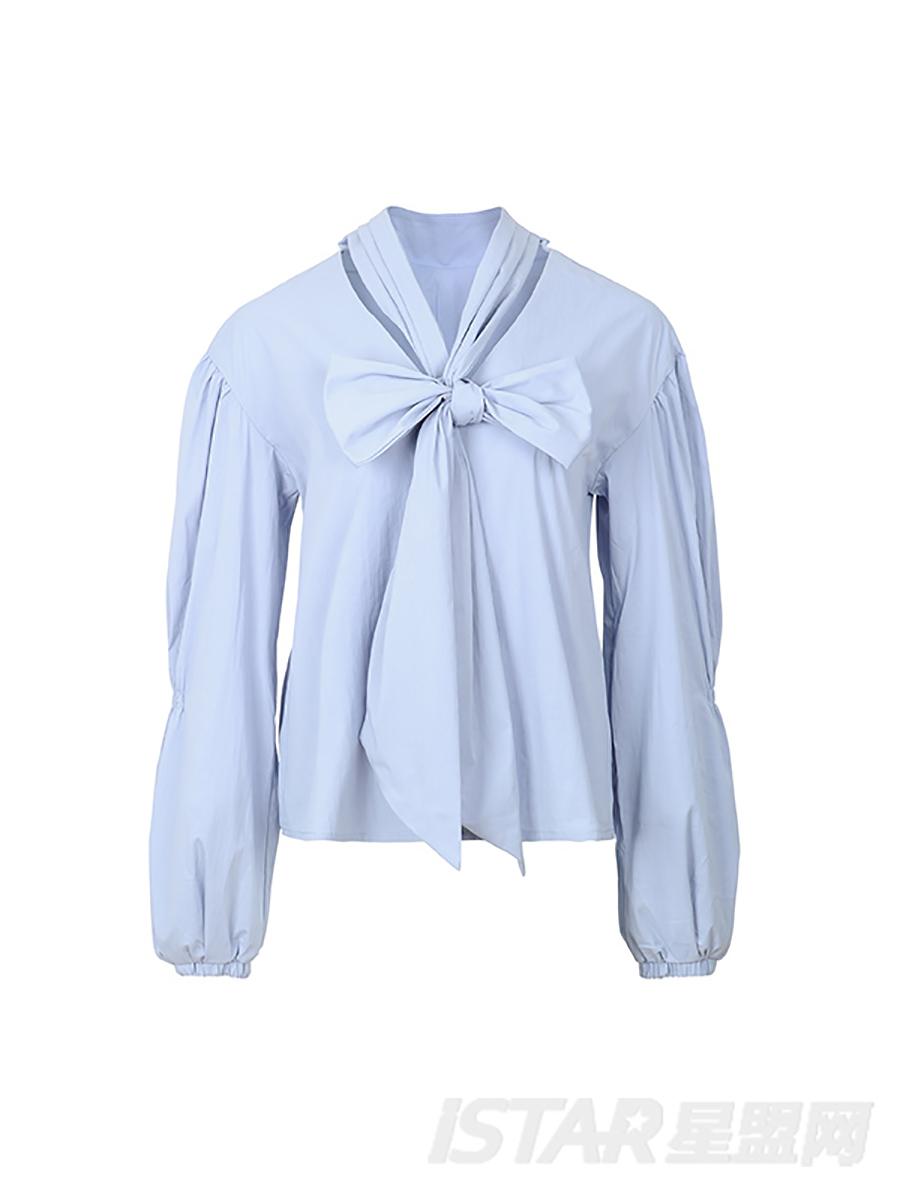 复古领结宽松衬衫