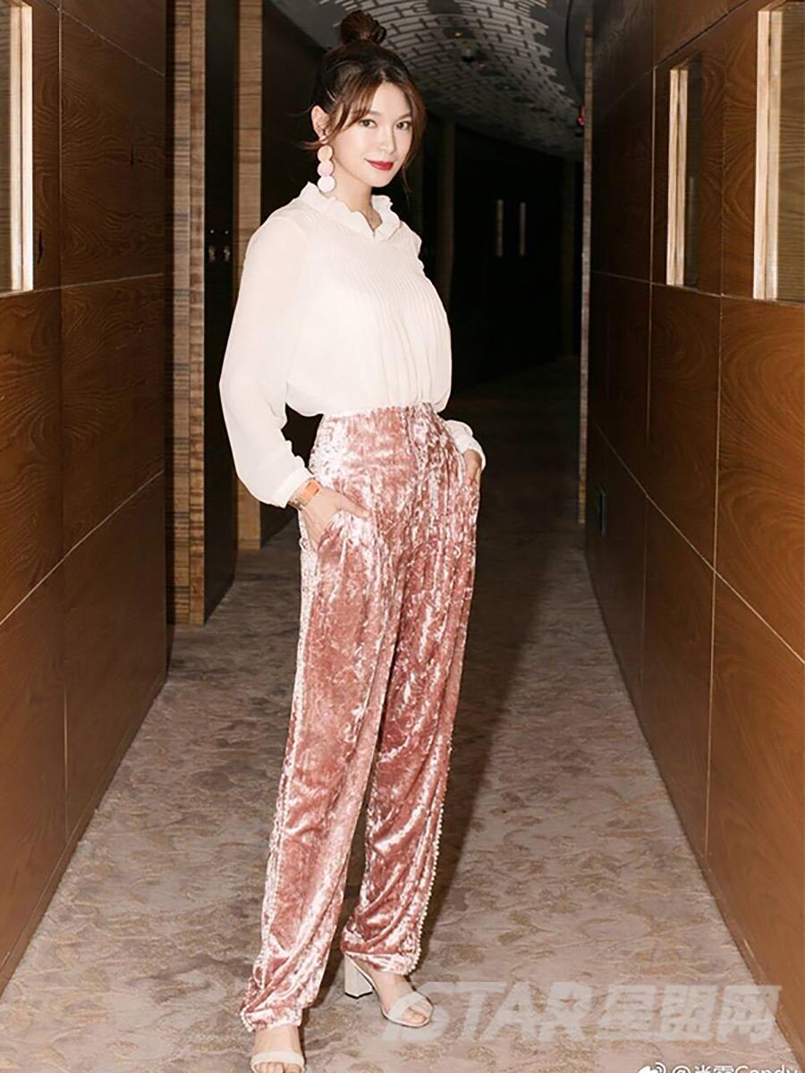 丝绒珍珠阔腿长裤