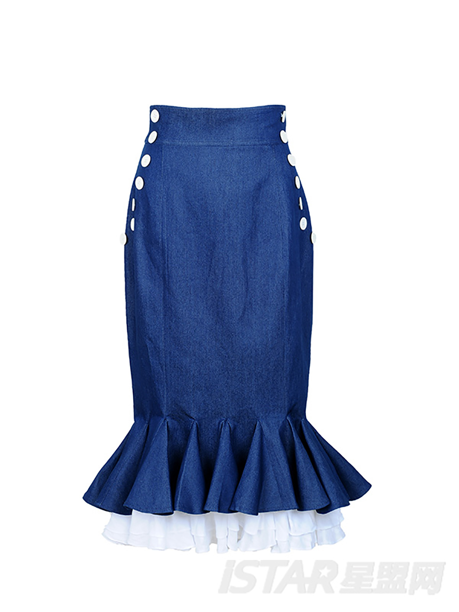 多层波浪包身鱼尾裙