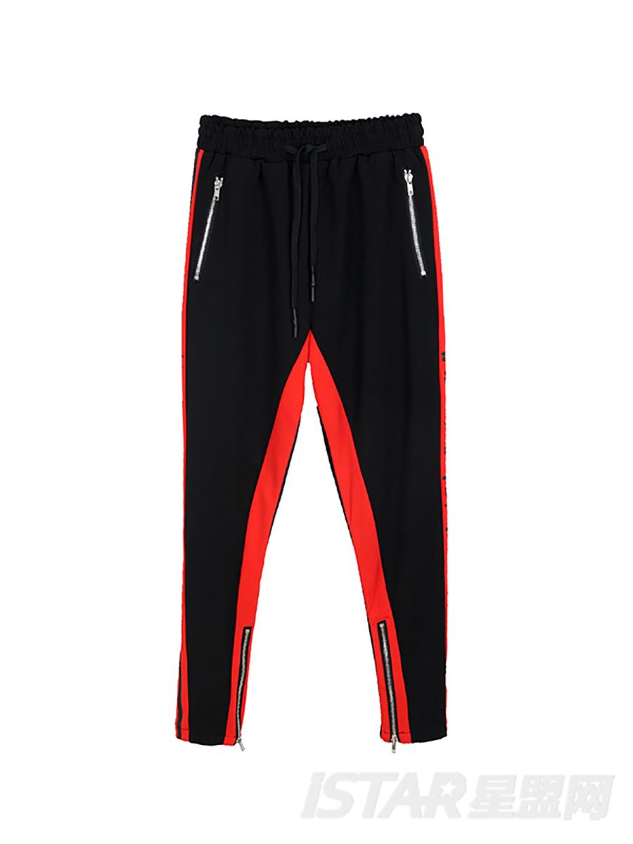 运动裤黑红
