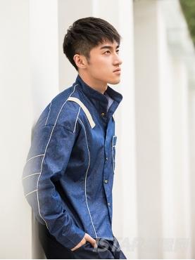 时尚花纹牛仔撞色黄色织带休闲复古牛仔衬衫