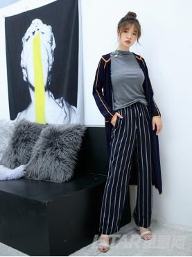 经典竖条纹优雅蓝休闲时尚阔腿裤