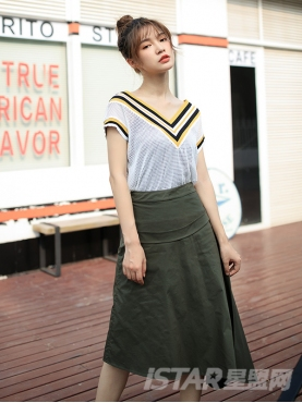 时尚军绿色个性不规则休闲舒适半身裙