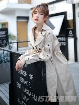 个性前短后长设计黑色纽扣装饰宽松风衣外套