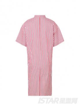不对称设计经典格子弧型下摆长款短袖衬衫