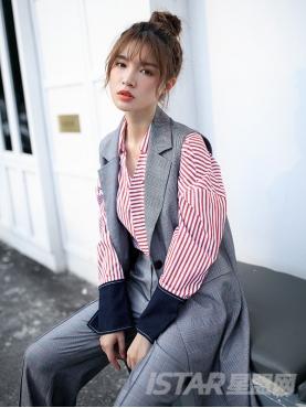 不对称大口袋设计个性袖口撞色元素长袖条纹短款衬衫