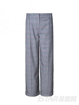 素雅灰经典格子时尚阔腿长裤