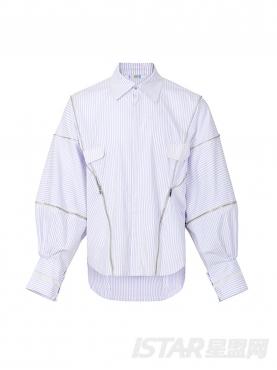 拉链设计条纹衬衫