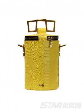 黄色单肩斜挎脸桶包