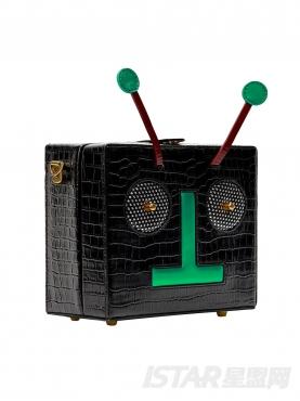黑色个性时尚机器人斜跨可加链条单肩包
