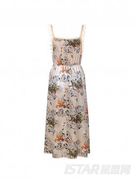 花边吊带丝绒连衣裙