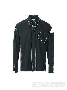 不对称肩部断口裁剪个性口袋装饰休闲时尚男士衬衫