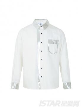 个性银边拼色简约绅士纯棉衬衫