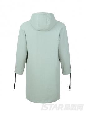 简约带帽撞色抽绳长款纯棉舒适保暖外套
