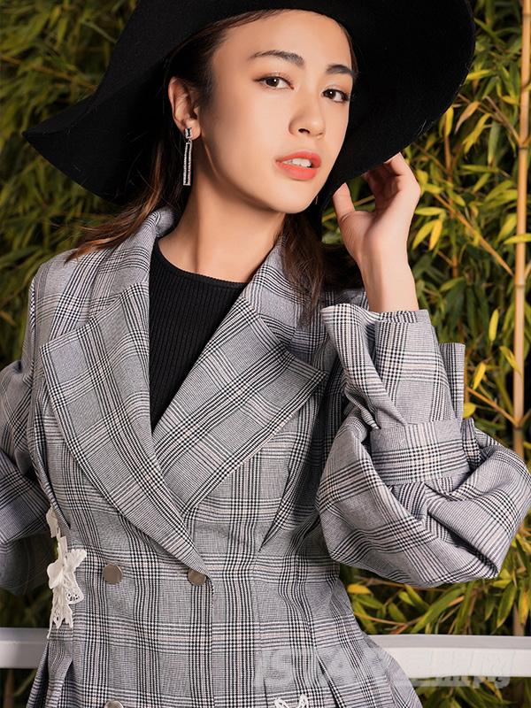 英式复古格纹西装外套