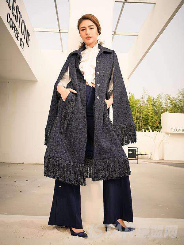 长款流苏设计气质大衣