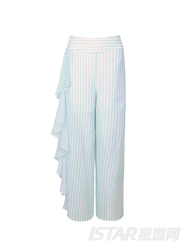 定制款个性条纹阔腿裤