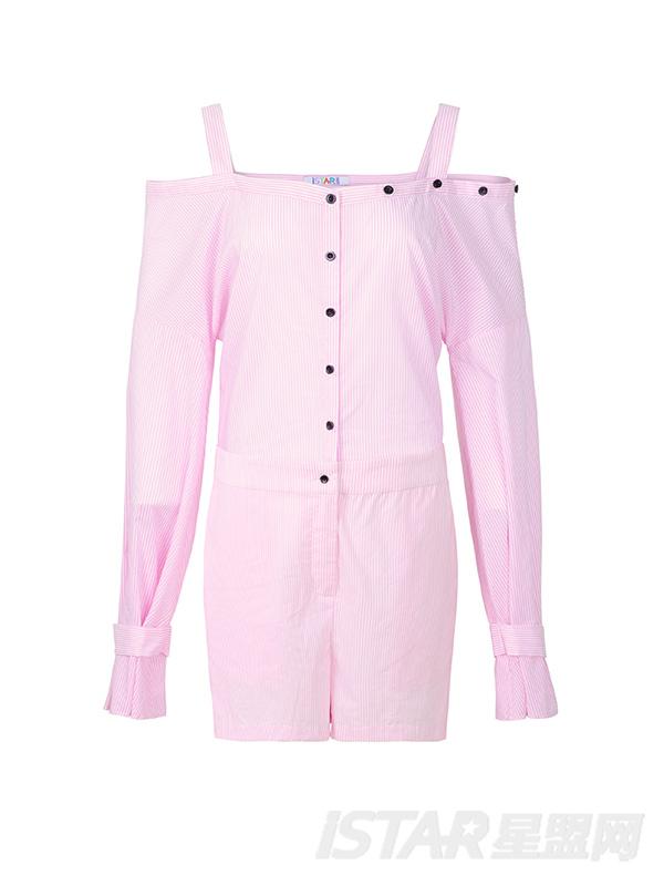 个性一字肩设计连体短裤