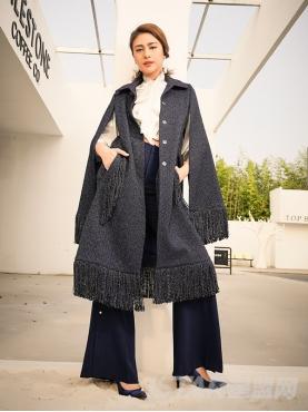 长款流苏设计简约收腰气质时尚大衣