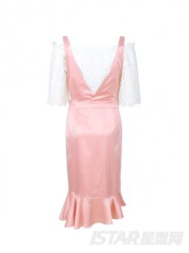 缎面复古设计经典粉白套装鱼尾裙