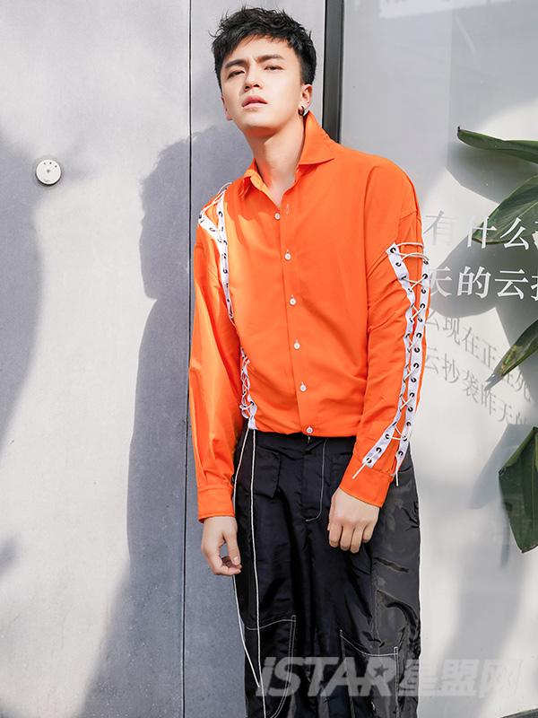 时尚系带撞色荧光橙长袖衬衫