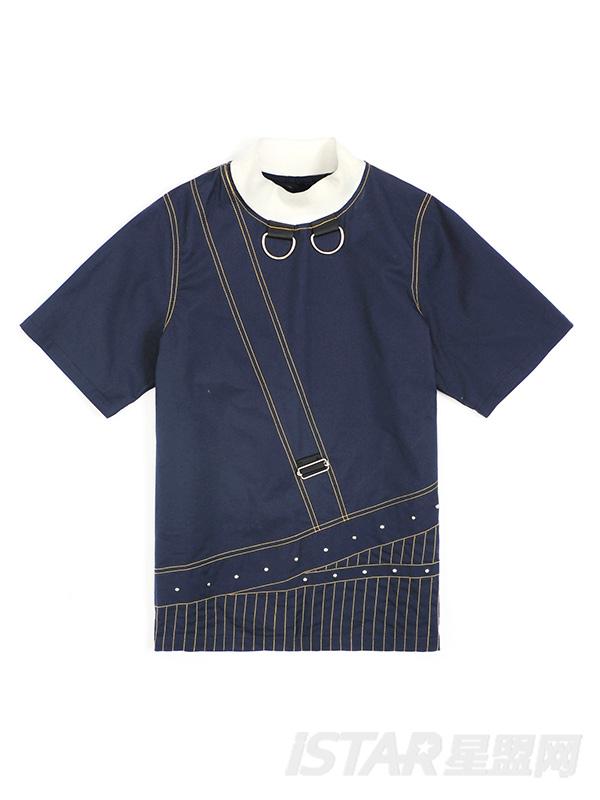撞色压线设计四方扣铆钉装饰T恤