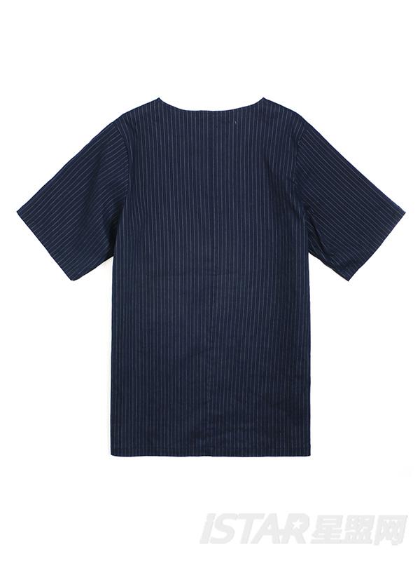 小V领细条纹T恤