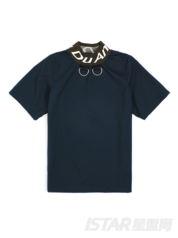 字母印花针织拼接衣领设计T恤